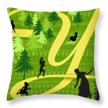 The Letter Y Throw Pillow by Valerie Drake Lesiak