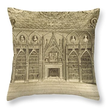 The Library, Engraved By Godfrey Throw Pillow by English School