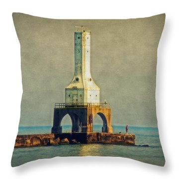 The Lighthouse And The Fisherman Throw Pillow by Mary Machare