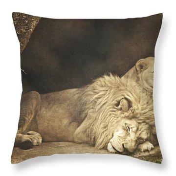 The Lion Sleeps Tonight Throw Pillow by Trish Tritz