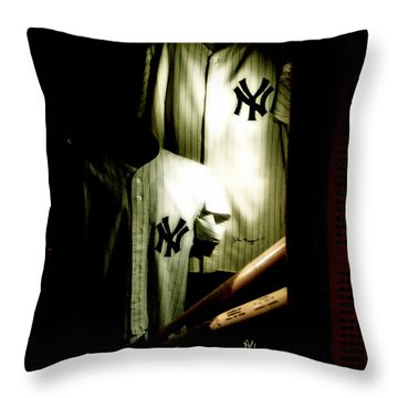 The Locker  Mickey Mantle's And Joe Dimaggio's Locker Throw Pillow by Iconic Images Art Gallery David Pucciarelli