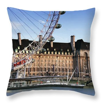 The London Eye And County Hall Throw Pillow by Rod McLean