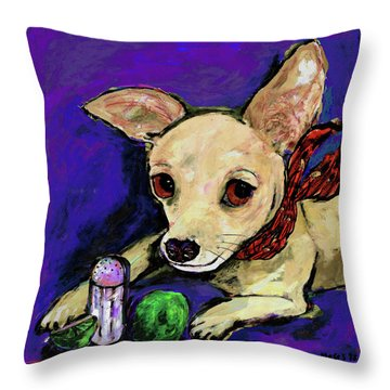 The Lovely Ms. Tecate Guarding Her Salt And Lime Throw Pillow by Dale Moses