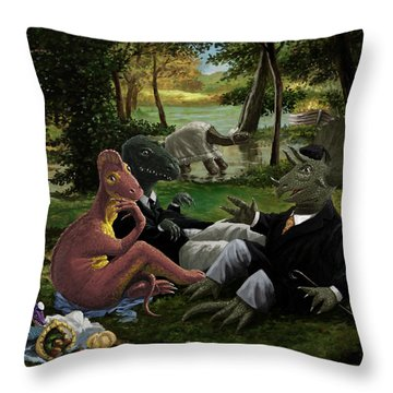 The Luncheon On The Grass With Dinosaurs Throw Pillow by Martin Davey