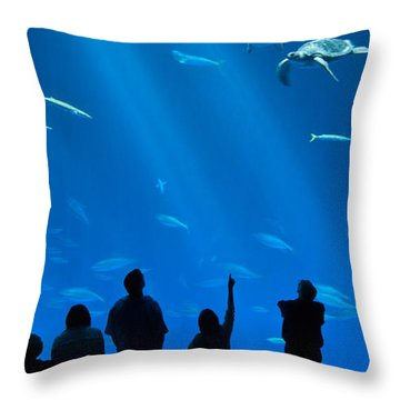 The Magnificent Open Sea Exhibit At The Monterey Bay Aquarium. Throw Pillow by Jamie Pham
