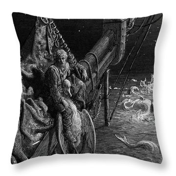 The Mariner Gazes On The Serpents In The Ocean Throw Pillow by Gustave Dore