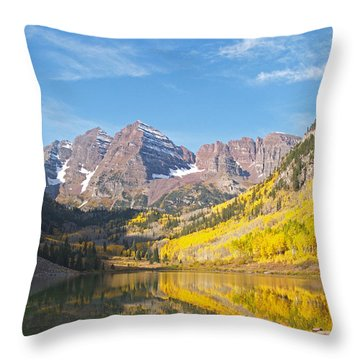 The Maroon Bells Near Aspen Colorado Throw Pillow by Alex Cassels