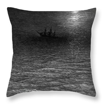 The Marooned Ship In A Moonlit Sea Throw Pillow by Gustave Dore
