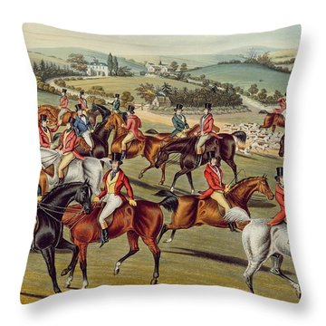 'the Meet' Plate I From 'fox Hunting' Throw Pillow by Charles Senior Hunt
