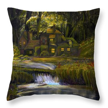 The Mill Throw Pillow by James Kruse
