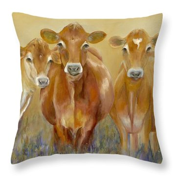 The Morning Moo Throw Pillow by Catherine Davis