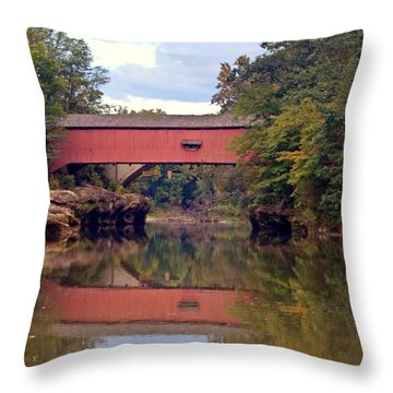 The Narrows Covered Bridge 4 Throw Pillow by Marty Koch
