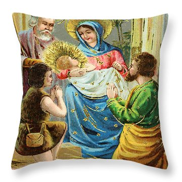 The Nativity Throw Pillow by Bill Cannon