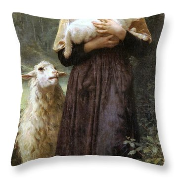 The Newborn Lamb Throw Pillow by William Bouguereau
