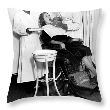 The North Harlem Dental Clinic Throw Pillow by Underwood Archives