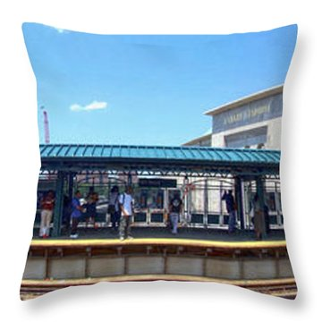 The Old And New Yankee Stadiums Panorama Throw Pillow by Nishanth Gopinathan
