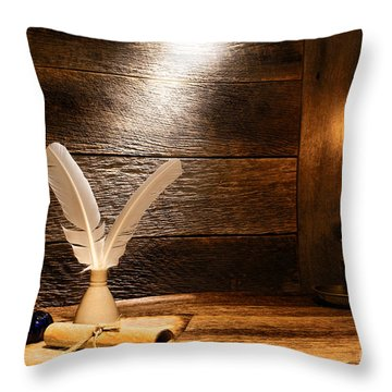 The Old Desk Throw Pillow by Olivier Le Queinec