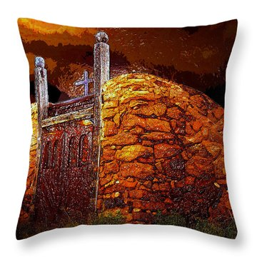 The Old Gates Of Galisteo Throw Pillow by David Lee Thompson