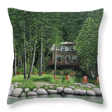 The Old Lawg Caybun On Lake Joe Throw Pillow by Kenneth M  Kirsch