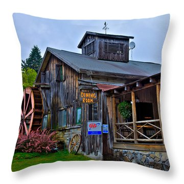 The Old Mill Restaurant - Old Forge New York Throw Pillow by David Patterson