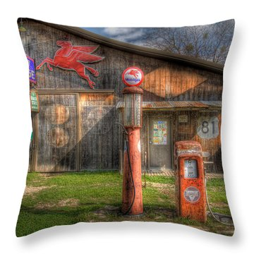 The Old Service Station Throw Pillow by David and Carol Kelly
