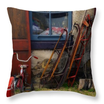 The Old Sleds Throw Pillow by Mary Machare
