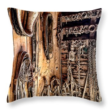 The Old Tack Room Throw Pillow by Olivier Le Queinec