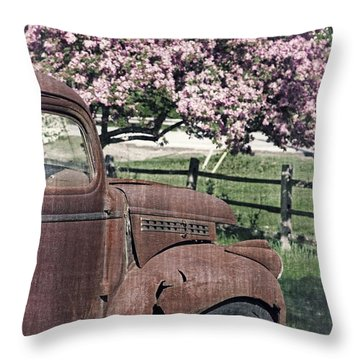 The Old Truck And The Crab Apple Throw Pillow by Edward Fielding