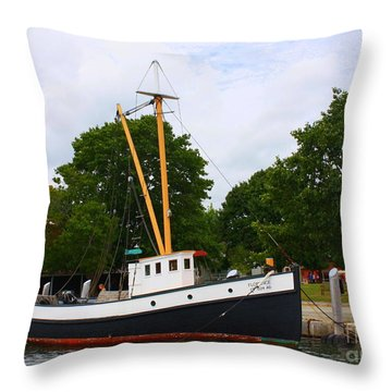The Old Tugboat At Mystic Throw Pillow by Dora Sofia Caputo Photographic Art and Design