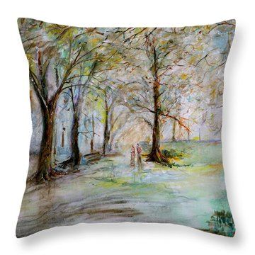 The Park Bench Throw Pillow by Jack Diamond