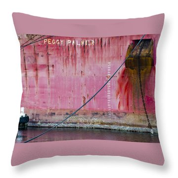 The Peggy Palmer Barge Throw Pillow by Carolyn Marshall