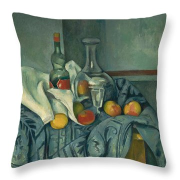 The Peppermint Bottle Throw Pillow by Paul Cezanne