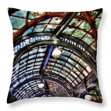 The Pergola Ceiling In Pioneer Square Throw Pillow by David Patterson