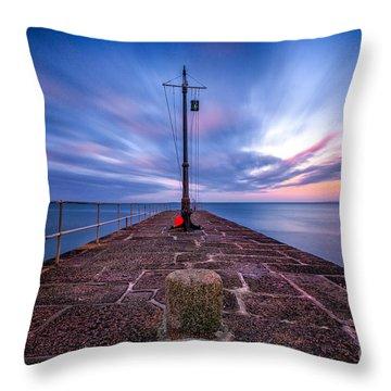 The Pier At Sun Rise Throw Pillow by John Farnan