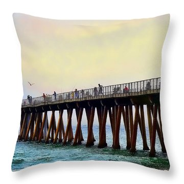 The Pier Throw Pillow by Camille Lopez