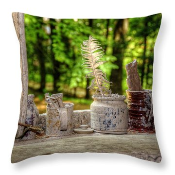 The Potter's Window Throw Pillow by Donna Doherty