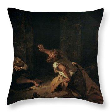 The Prisoner Of Chillon Throw Pillow by Ferdinand Victor Eugene Delacroix