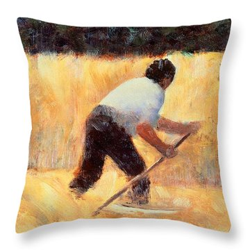 The Reaper Throw Pillow by Georges Seurat