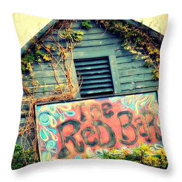 The Red Bar Throw Pillow by Toni Abdnour