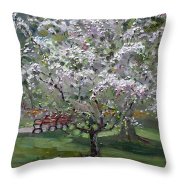 The Red Bench Throw Pillow by Ylli Haruni