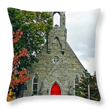 The Red Door Throw Pillow by Steve Harrington