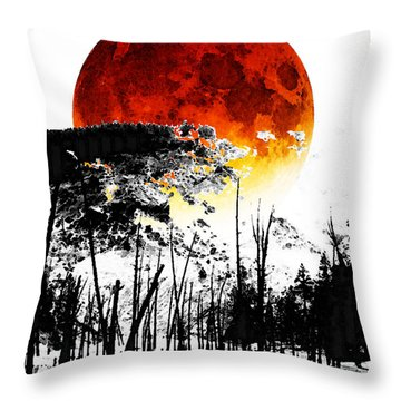 The Red Moon - Landscape Art By Sharon Cummings Throw Pillow by Sharon Cummings