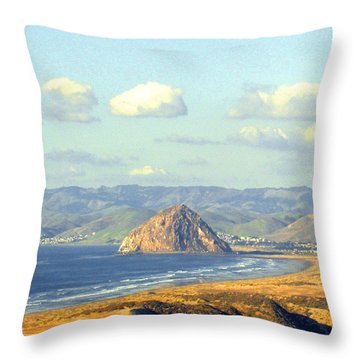 The Rock At Morro Bay Throw Pillow by Barbara Snyder