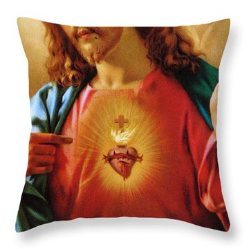 The Sacred Heart Of Jesus Throw Pillow by French School
