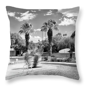 The Sandpiper Pool Bw Palm Desert Throw Pillow by William Dey