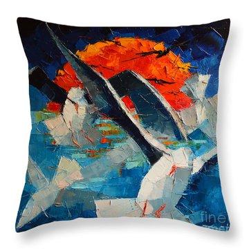 The Seagulls 2 Throw Pillow by Mona Edulesco