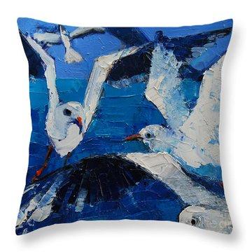 The Seagulls Throw Pillow by Mona Edulesco