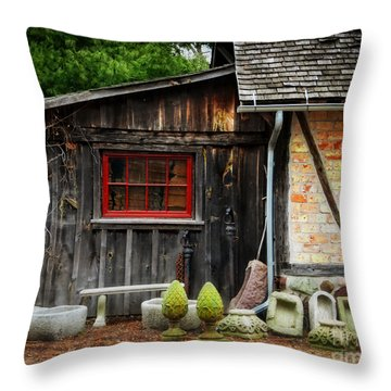 The Shed At Monches Farm Throw Pillow by Mary Machare