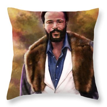 The Silky Silky Soul Singer - Marvin Gaye  Throw Pillow by Reggie Duffie