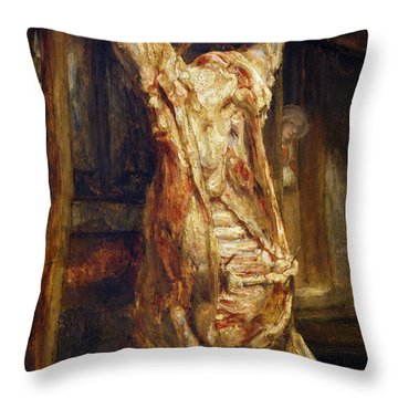 The Slaughtered Ox Throw Pillow by Rembrandt Harmenszoon van Rijn